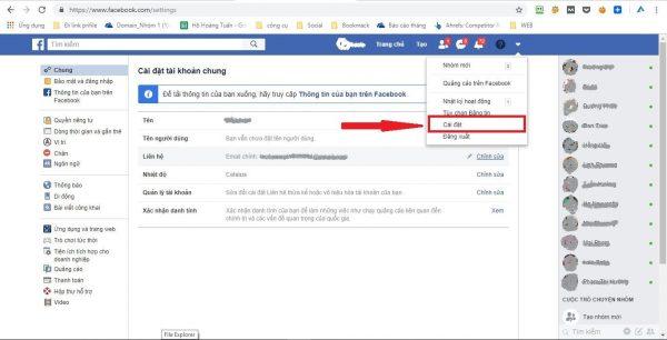 Cách khóa FB - bước 2