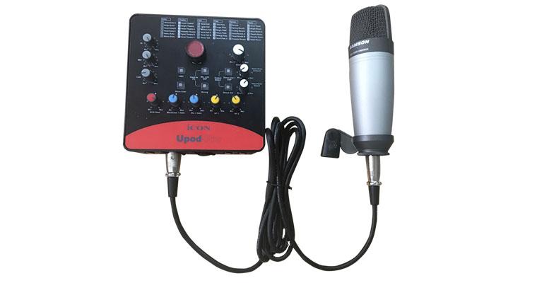 Kết nối mic thu âm với dây tín hiệu mic
