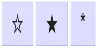 Kí tự ngôi sao năm cánh tông màu đen và màu trắng